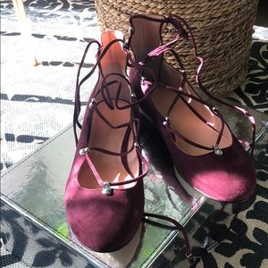 NWT Sigerson Morrison Suede Lace-up Flats